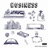 Business, finance and transportation icon set