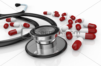 stethoscope and pills