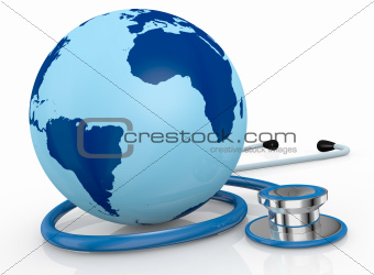 stethoscope and world globe