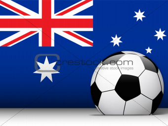 Australia Soccer Ball with Flag Background