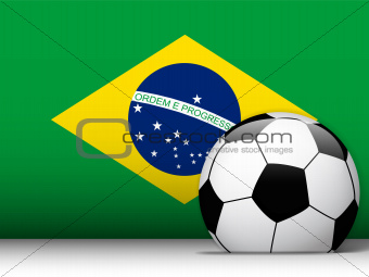 Brazil Soccer Ball with Flag Background