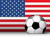 United States Soccer Ball with Flag Background