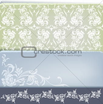 vintage floral  decoration design set with corner, seamless and
