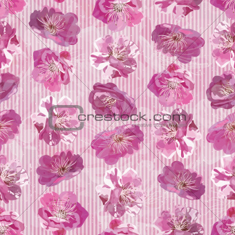 Seamless floral background with sakura flowers