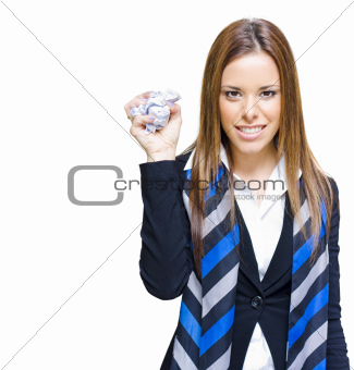Unhappy And Angry Business Woman With Paper