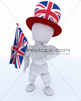 Man in Union Jack Hat with Flag