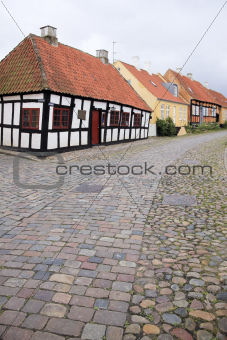 cobbled street ebeltoft village denamrk