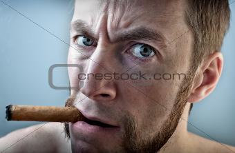 a man with a cigar