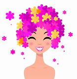Beauty woman with floral hairstyle