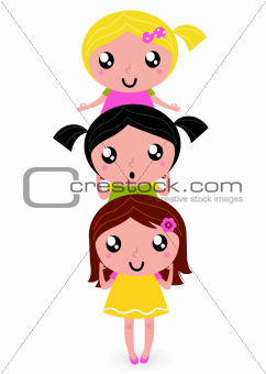 Cute kids group in column isolated on white