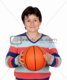 Adorable boy with a basket ball