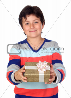 Adorable boy with a present