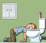 Cartoon teen boy sick in the toilet