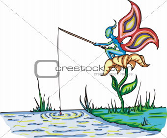 Fairy elf fishing