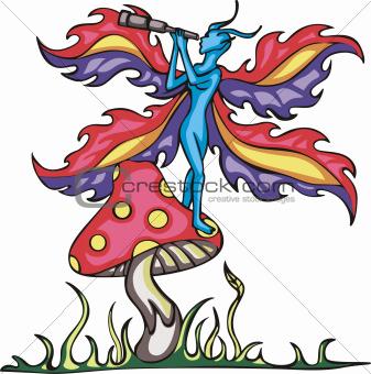 Fairy elf on mushroom with monocular tube