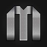 Letter metal chrome ribbon - M
