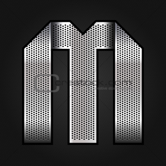 Letter metal chrome ribbon - M