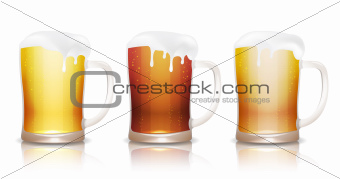 Light, dark and unfiltered beer in mugs