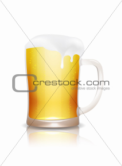 Beer mug with reflection