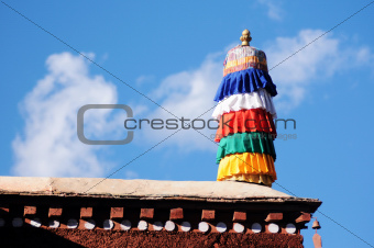 Colorful prayer flags on the roof