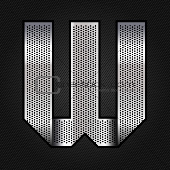 Letter metal chrome ribbon - W