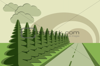 road fir trees sky papercraft