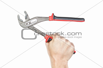 Open the wrench in his hand, on a white background.
