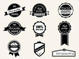 Premium Quality and Guarantee Badges with retro vintage style