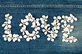 Word love made from flowers