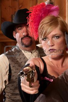 Tough Bar Maid with Gun