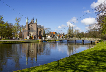 bridge to church, Alkmaar town, Holland, the Netherlands