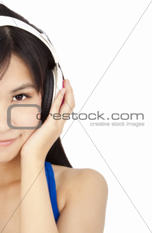 smiling  young woman with headphone