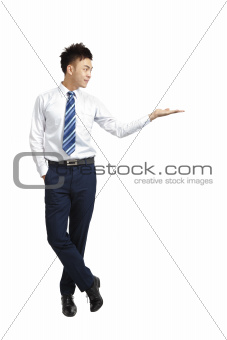 young businessman  shows your product