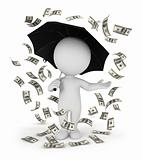 3d white people money rain with an umbrella