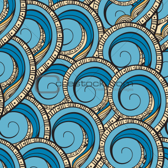 vector seamless ethnic pattern with waves