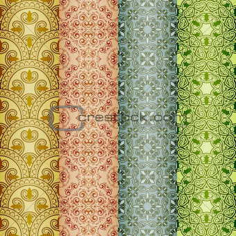 vector seamless patterns, oriental style