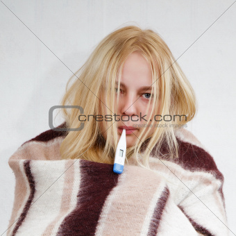 girl with a thermometer