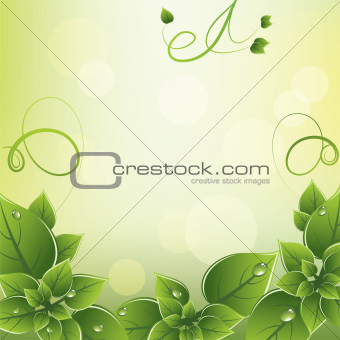 vector frame with fresh green leaves