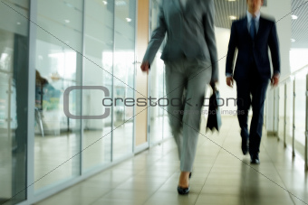 Walking down corridor