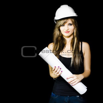 Graduate engineer holding construction design plan