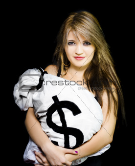 Happy woman with a bag of American dollar bills