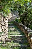 Steps up Saint-Laurent Hill to the castle over Cremieu France