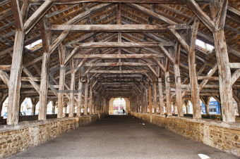 The medieval timbers of the Hall or Market in Cremieu France