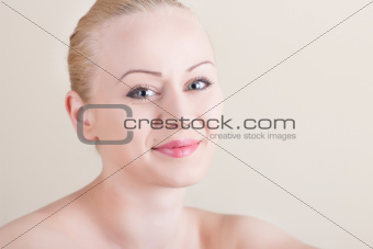 Nude smiling girl with natural make up