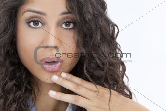 Beautiful Surprised Hispanic Woman or Girl