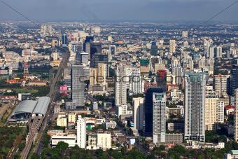 Aerial view at the Bangkok city