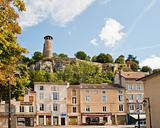 13th century Benedicitine property on Saint-Hippolyte Hill above the main intersection of roads in Cremieu France
