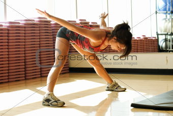 Young woman stretching