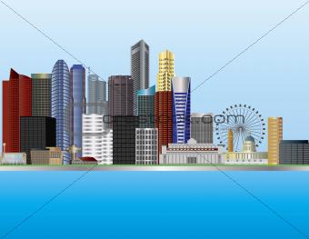 Singapore City Skyline Illustration