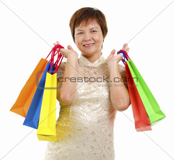 Happy mature shopper